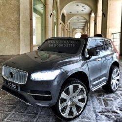 Электромобиль VOLVO XC90 серый (АКБ 12v 10ah, колеса резина, сиденье кожа, пульт, музыка)