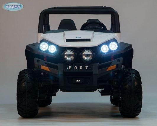 Электромобиль двухместный BUGGY (Т009ТТ) белый (полный привод, резиновые колеса, кожаное кресло, пульт)