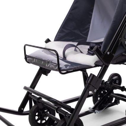 Санки-коляски Pikate Military «Серый» (материал «Dewspoo» плотностью 240 D, овчина, 3 положения спинки, краска рамы темно-серый)