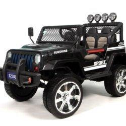 Электромобиль Jeep T008TT 4WD черный (2х местный, полный привод, колеса резина, кресло кожа, пульт музыка)